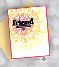 Cards For Friends, Friend Cards, Jennifer Mcguire Ink, Simon Says Stamp Blog, Thanks Card, Altenew, Hero Arts, Tim Holtz, Giveaway