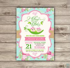Twin Baby Shower Invitations two peas in a pod shabby chic boho rustic flowers twins summer fall baby girls twin girls Couple Shower