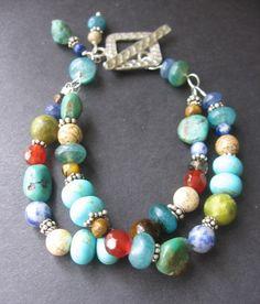 Multi-stone, double strand bracelet.  www.etsy.com/...