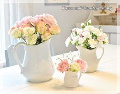 Group similar floral arrangements together on your table for a pretty punch.
