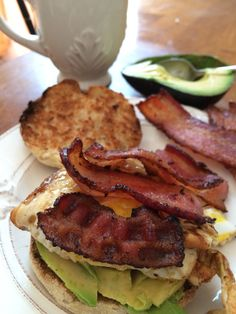 This Sunday morning's English muffin with bacon, fried eggs, and avocado (photo by Julie Bogen, taken on iPhone 5s)