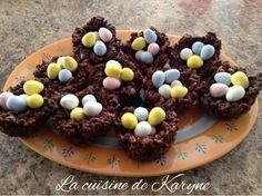 La cuisine de Karyne: Petits nids croustillants au chocolat et riz souff... Breakfast, Desserts, Food Ideas, Nests, Morning Coffee, Tailgate Desserts, Deserts, Postres, Dessert