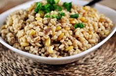 Simple Barley Pilaf Recipe Side Dishes with butter, pearl barley, pinenuts, garlic cloves, onion, salt, pepper, low sodium chicken broth