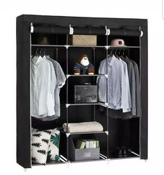 Portable Closet Wardrobe Clothes Ample Storage Space Organizer Armoire for sale online