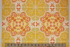 Rosie's Vintage Wallpaper - 1970's Vintage Wallpaper Retro Mod Orange and Yellow Geometric, $130.00 (http://www.rosiesvintagewallpaper.com/1970s-vintage-wallpaper-retro-mod-orange-and-yellow-geometric/)