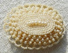 Georgian or early Victorian Seed Pearl Brooch ~ Antique Wedding Jewelry ca 1830s by leila
