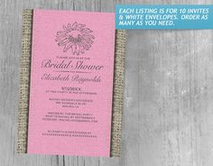 Pink and Brown Vintage Lace Bridal Shower Invitations