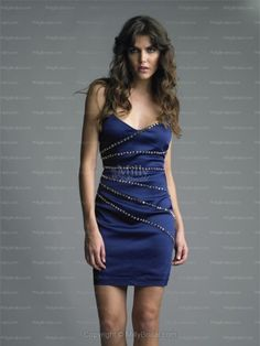 Sheath/Column V-neck Rhinestone Satin Short/Mini Prom Dress
