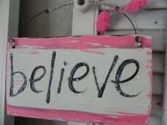 BELIEVE Sign Pink and Glitter Breast Cancer by signsandsalvage,