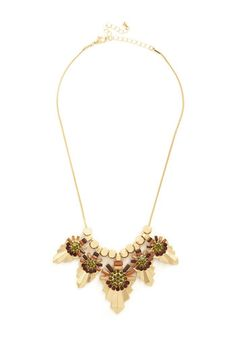 Deco Drama Necklace. Your ensemble gets a dose of 20s-era-inspired glamour when accompanied by this sleek gold statement necklace. #gold #prom #modcloth