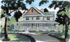 Country Farmhouse Traditional Elevation of Plan 24724
