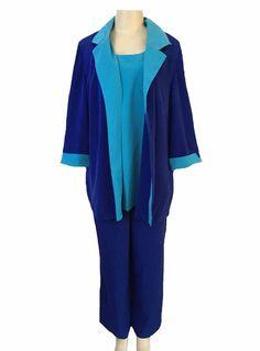 Roaman's Blue Special Occasion 3 Piece Blouse Blazer Pant Suit Size 20W | eBay
