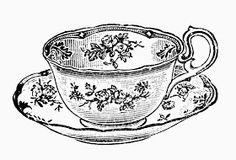 Sisters' Warehouse: Tea Time - Free Vintage Illustrations in Black and White - Teacups and Teapots - L'Ora del Te - Illustrazioni Vintage in Bianco e Nero - Tazzine e Teiere