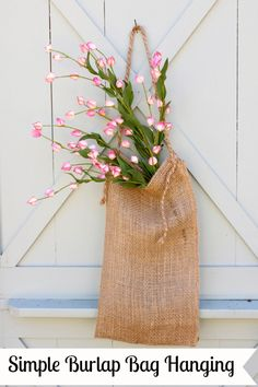 Simple Burlap Bag ... Yet another use for our painted and stenciled bags (tho' this is unadorned!) ... !!!