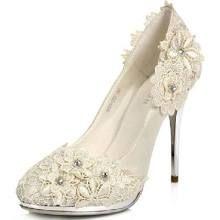 Lace Floral Ivory Bridal Shoes High Heel Pumps