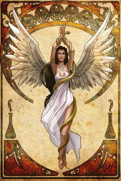 Hygeia, Health Goddess Nouveau by phoenixnightmare Isis Goddess, Egyptian Goddess, Egyptian Art, Lillith Goddess, Greek Goddess Art, Celtic Goddess, Art Amour, Bel Art, Greek Gods And Goddesses