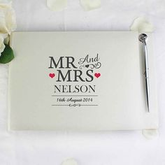 Personalised Wedding Guest Book With Pen Mr And Mrs Hearts Summer Bride Groom