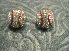 Crystal Accented Baseball Stud Earrings