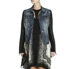 BCBG Denim Faux Leather Quilted Sleeves Stunning! Details are Gorgeous on this Denim Jacket. Quilted Shoulder and Zipper detail on Sleeve Cuffs. Stretch fabric on inner sleeve.  MEASUREMENTS: BCBGMaxAzria Jackets & Coats Jean Jackets