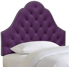 One Kings Lane Allina Kidsu0027 Headboard   Aubergine Velvet