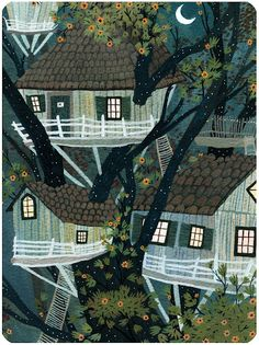 """Lost Boy's hideout, the Hangman's Tree by Becca Stadtlander for the """"Fractured Fairy Tales"""" show at the Wonderful World of Animation Gallery in Culver City"""