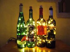 Small strand of christmas lights in a drilled wine bottle; brilliant.