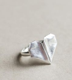 Folded Heart Ring | Make hearts throb, or at the very least, turn heads with this ... | Rings