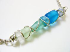 Beach Glass Graduated Colors Chain Necklace