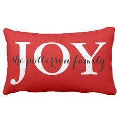 Festive Christmas Joy Red White Personalized Lumbar Pillow