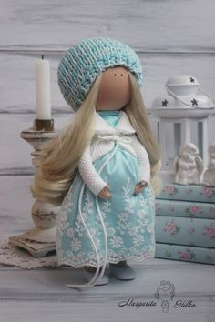 Hand made Art doll pregnant turquoise white by AnnKirillartPlace
