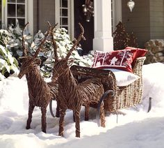 rattan sleigh christmas porch outdoor christmas decorations christmas holidays xmas reindeer christmas