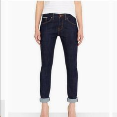 Levi's Skinny Boyfriend Jean with selvedge Gorgeous dark denim, selvedge, slim boyfriend cut so they're not too slouchy. Love these but unfortunately bought one size too big. Worn twice; in great condition. Levi's Jeans Boyfriend