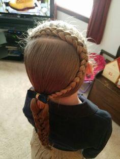 dutch braid into a side pony with a braid  ♡