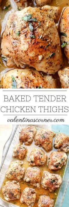 Easy, juicy and tender oven baked chicken thighs recipe. Prep time is like 10 minutes! So easy.
