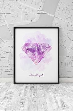 Watercolor Amethyst Print, February Birthstone printable poster, Watercolor gemstone, Home Decor, Wall Decor, Wall Art, INSTANT DOWNLOAD.