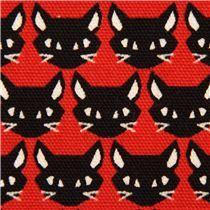 roter Katzen Tier Oxford Stoff Kokka Japan - Tierstoffe - Stoffe
