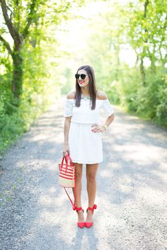 White Off Shoulder Dress and Red Bow Pumps // A Southern Drawl
