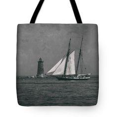 "Lynx sailing past Whaleback Lighthouse Tote Bag 18"" x 18"""