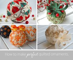 Quilted Ball Ornament Pattern e-Book - No Sew - Learn to use both ribbon AND fabric.