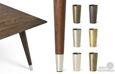 "3 places to find metal feet — aka ""ferrules"" and ""sabots"" — for mid-century modern tables and chairs"