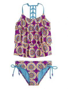 Justice Medallion Tankini Swimsuit Color: True Grape