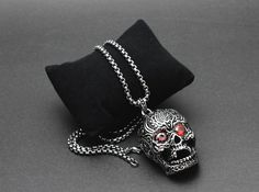 Red Stones Eyes Big Skull Pendant Necklace //Price: $63.00 & FREE Shipping //     #skull #skullinspiration #skullobsession #skulls