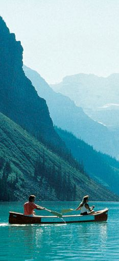 Canoeing on Lake Louise in Alberta, Canada • photo: The Fairmont Chateau Lake Louise