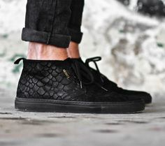"""Axel Arigato black """"fish"""" embossed suede chukka sneaker with a back tab and three-eye lace closure. Inside, a calf leather lining and cushioned footbed deliver comfort to every wearing. #axelarigato"""