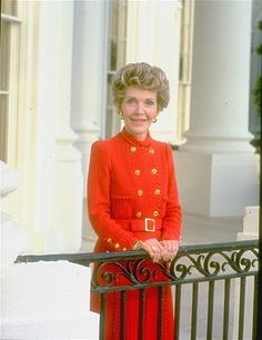 First Lady Nancy Reagan outside at the White House.