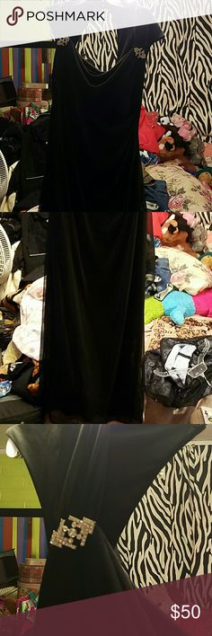 Black jeweled formal night out dress It's sheer but has a satin underlayer. So beautiful and well made. BNMOT. Long dress with sheer fan out piece on side to look like a layer. 2 jewels on side bottom at collar. R&M Richards Dresses Prom