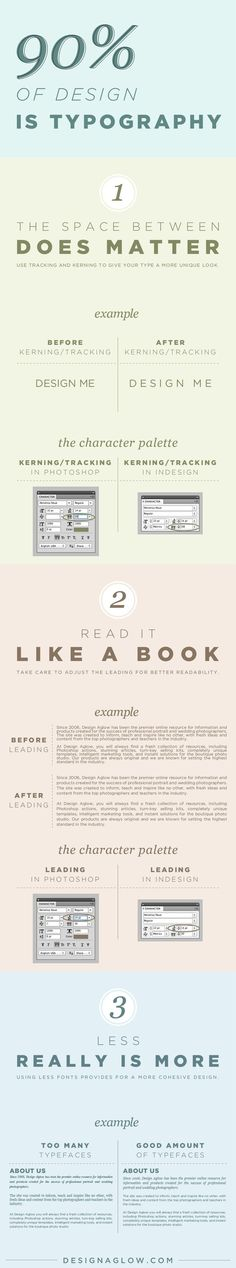 Some good examples of poor vs. good layout of content. 90% of design is typography [infographic]. How to create a great design.