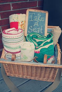 Offer a #basket of quilts and #blankets for people to gather around and enjoy good food.