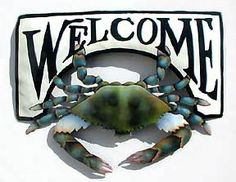 Metal Welcome Sign - Painted Metal Blue Crab, Nautical Metal Art - Tropical Decor, Recycled Haitian Steel Drum Art - .Garden Decor -K7066-CW by TropicAccents on Etsy