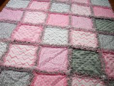 Baby Rag Quilts Pink Grey Baby Quilt Rag by LoveableQuiltsNMore